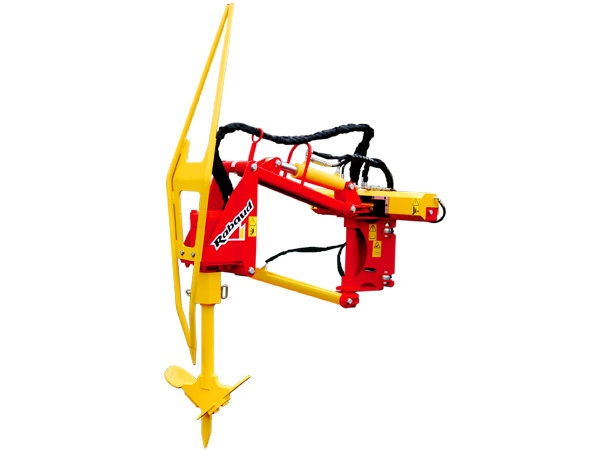 Hydraulic hole digger on STRADDLE TRACTOR