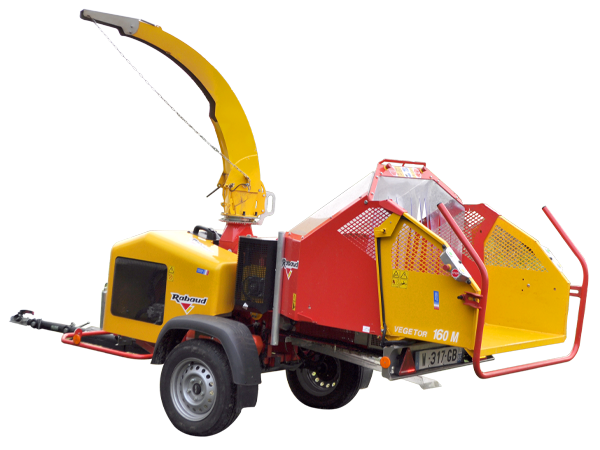 Wood chipper mounted on road trailer: VEGETOR 160M