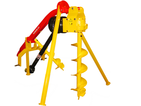 Mechanical hole digger for mini-tractor