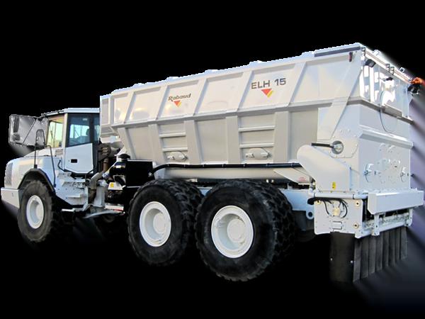 Binding agent spreader mounted on articulated dumper: ELH15/17